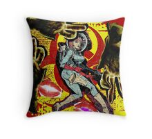 Space zombie graphic novel design Throw Pillow