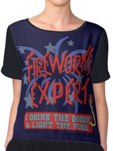 Funny Fireworks Expert 4th of July American Independence Chiffon Top