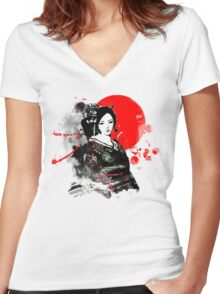 Japan Kyoto Geisha Women's Fitted V-Neck T-Shirt