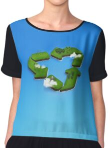 recycling and go green symbol island in the sea Chiffon Top