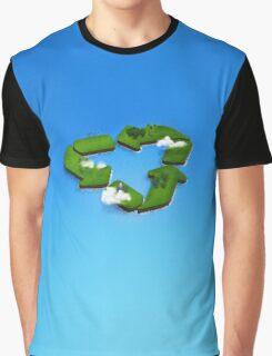 recycling and go green symbol island in the sea Graphic T-Shirt