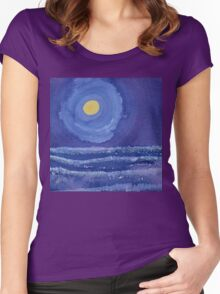 Night Surf original painting Women's Fitted Scoop T-Shirt