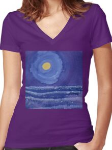 Night Surf original painting Women's Fitted V-Neck T-Shirt