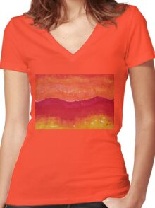 Red Saddle original painting Women's Fitted V-Neck T-Shirt