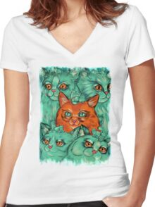 Kitty Madness Women's Fitted V-Neck T-Shirt