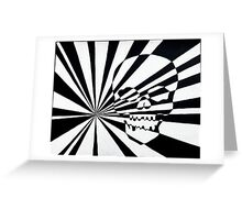 Skull and Rays in Black and White Greeting Card