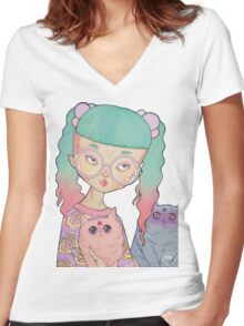 Cat Lady Women's Fitted V-Neck T-Shirt