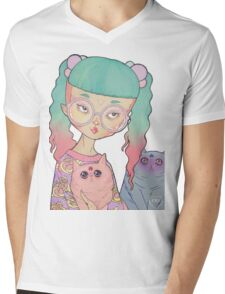 Cat Lady Mens V-Neck T-Shirt