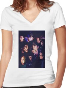 EXO - Monster Collage Women's Fitted V-Neck T-Shirt