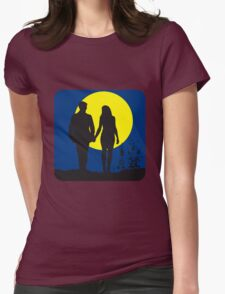 full moon love couple romance Womens Fitted T-Shirt