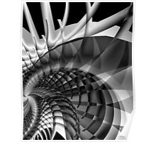 Architecture 101 fractal structure, black, white Poster