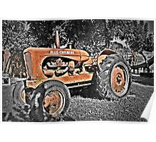 Red tractor rusting away  Poster