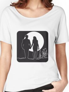 full moon love couple romance Women's Relaxed Fit T-Shirt
