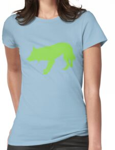 Crouching Border Collie - Light Green Womens Fitted T-Shirt