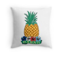 Hawaiian Pineapple wit Flowers Throw Pillow