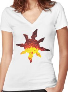 Solrock used Fire Spin Women's Fitted V-Neck T-Shirt