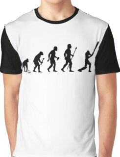 Evolution Of Man and Cricket Graphic T-Shirt