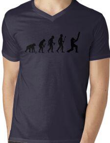 Evolution Of Man and Cricket Mens V-Neck T-Shirt