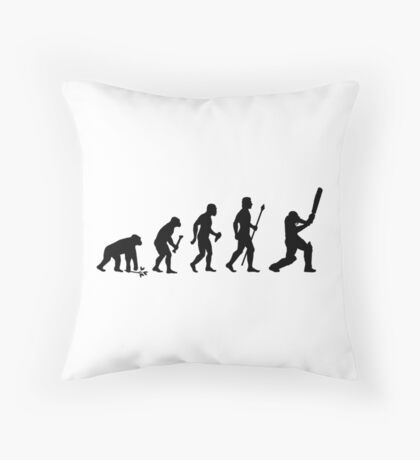 Evolution Of Man and Cricket Throw Pillow
