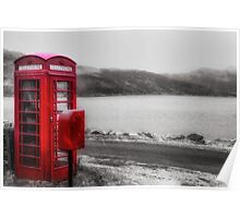 Old Red British Telephone Kiosk Poster