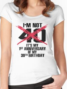 I'm not 40. It's my 1st anniversary of my 39th birthday Women's Fitted Scoop T-Shirt
