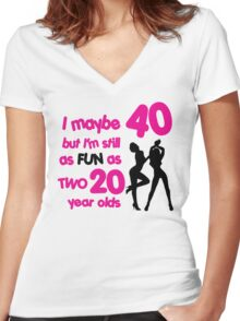 I maybe 40 but I'm still as fun as two 20 year olds Women's Fitted V-Neck T-Shirt