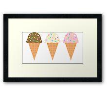 Three Ice Cream Cones Framed Print
