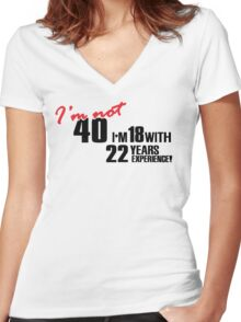 I'm not 40. I'm 18 with 22 years experience Women's Fitted V-Neck T-Shirt