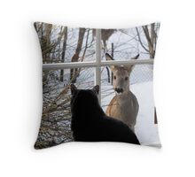 The Cat and the Deer Throw Pillow