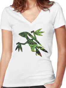 Grovyle used Leaf Blade Women's Fitted V-Neck T-Shirt