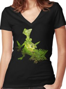 Sceptile used Leaf Storm Women's Fitted V-Neck T-Shirt
