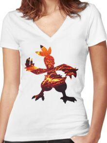Combusken used Fire Spin Women's Fitted V-Neck T-Shirt