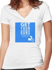 Get Your Guns Out Women's Fitted V-Neck T-Shirt