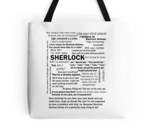 Sherlock Season 3 Quotes Tote Bag