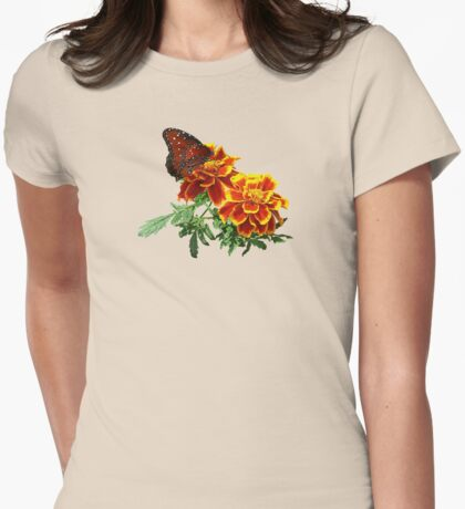 Queen Butterfly on Marigold Womens Fitted T-Shirt