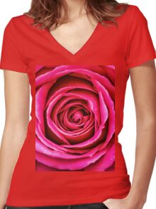 Hot Pink Rose Closeup Women's Fitted V-Neck T-Shirt