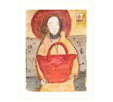 Icon of casual woman with red bag in the underground Art Print