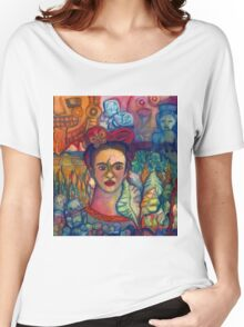 Frida Kahlo and Mexico Homage Original Watercolor by Candace Byington Women's Relaxed Fit T-Shirt