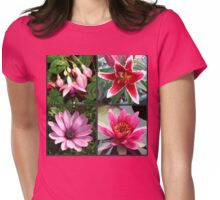 Vibrant Pink Summer Flowers Collage Womens Fitted T-Shirt