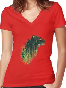 Space Tiger Women's Fitted V-Neck T-Shirt