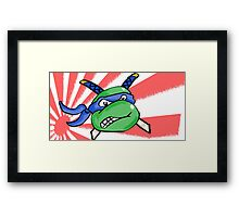 Ninja Turtle Leonardo - Flag! (blue) Framed Print