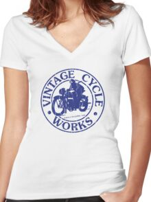 Vintage Cycle Works Women's Fitted V-Neck T-Shirt