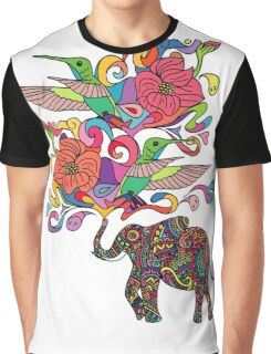 Lucky Elephant & Hummingbirds Graphic T-Shirt
