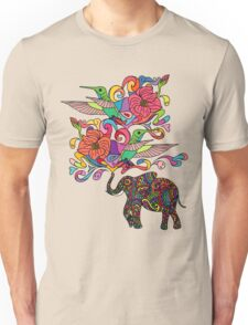 Lucky Elephant & Hummingbirds Unisex T-Shirt