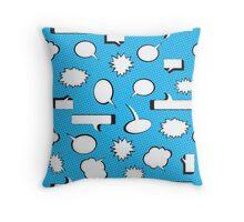 Comic Book Pow Blue Throw Pillow
