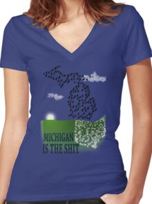 Michigan Proud Women's Fitted V-Neck T-Shirt