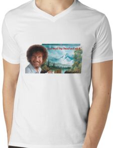"Bob Ross ""Just beat the Devil out of it."" Mens V-Neck T-Shirt"