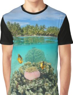 Tropical islet with anemone fish underwater Graphic T-Shirt