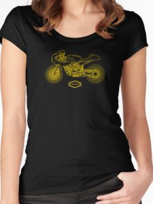 Retro Café Racer Bike - Gold Women's Fitted Scoop T-Shirt