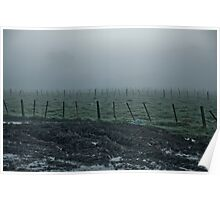 Landscape - Muddy Fields and Fences in  Morning Fog Poster